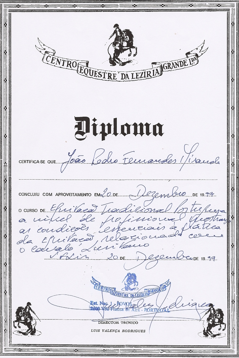 Portuguese Traditional Riding Equestrian Diploma granted by the Center at the Great Leziria